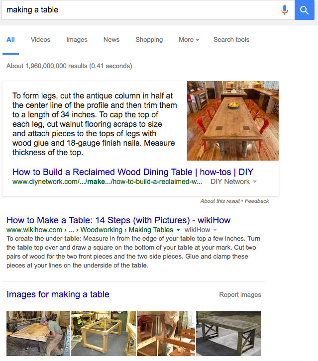 An example of a google featured snipped result